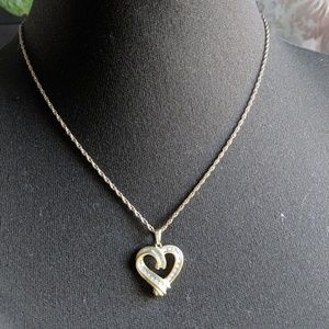 Jewelry - 🆕 Gold & Silver Heart Diamond Pendent Necklace